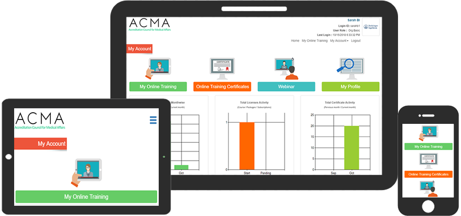 eLearning software Dashboard